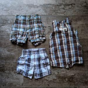 Carter's Plaid 9 Months Bundle 3 Shorts/Shortall